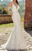 Wedding Dresses Sexy Mermaid Sleeveless V Neck Lace Bridal Gowns Backless Beach Dress Plus Size