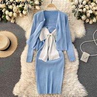 Orgreete Primavera Autunno sottile Abito da cardigan a maglia Abiti Sweet Contrast Color Bow Strap + Cappotto a maniche lunghe 2 pezzi Set 210602