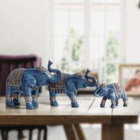 Familia Elefante Estatuilla Resina Tailandia Elefante Estatua para la oficina Sala de estar Hecho a mano Decoraciones para el hogar Lindos Animales Adornos Q0525