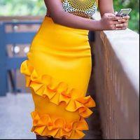 Женщины женские юбки с высокой талией оборками эластичный корпус карандаш вечеринка мода весенние летние африканские элегантные jupes falads saias плюс размер