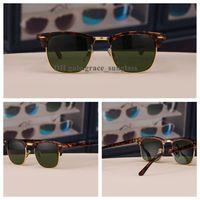 Diseñador de lujo Gafas de sol para hombres Mujeres Plaza Medio Marco Piloto Gafas de sol Classic Moda Gafas de alta calidad Lunettes de Soleil Vierta femmes con estuche de cuero