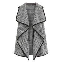 Women's Vests Women Plaid Open Front Sleeveless Slim Vest Waistcoat Outwear Cardigan Coat Tops Colete Feminino Chalecos Para Mujer