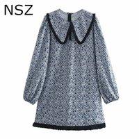 NSZ المرأة الأزهار طباعة فضفاض قصير البسيطة اللباس بيتر بان طوق متناقض الألوان الأزياء اللباس 210422