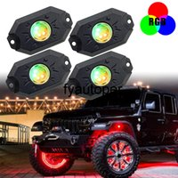 RGB Rock Music Lights Car Accessories Bluetooth APP Control 12 24V Underbody Neon Atmosphere Lamps 4pcs LED