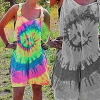 2021 Women Summer Sports Shorts Tracksuits Rompers Tie Dye Printing Sexy Suspender Loose Jumpsuits One Piece Pants Sport Suits G31ISOU