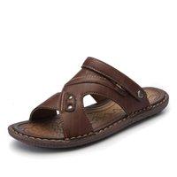 Terlik 2021men Klasik Plaj Yaz Ayakkabı Kalite Split Deri Sandalet Rahat Erkekler Terlik 0ovh