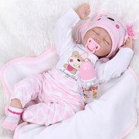 """Realista 22 """"Reborn Baby Dolls Dormindo Menina Handmade Vinyl Silicone Recém-nascido Xmas Bday presentes"""