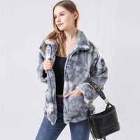 Frauen Faux Pelzjacke Übergroßen Winter Warme Mantel 2021 Casual Langarm Outwear Zip Stehkragen Frauenjacken