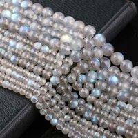 "Flash natural labradorite lua pedra 4 6 8 mm redondo grânulos frouxos para jóias fazendo 1 vertente 15 """