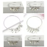 Регулируемые расширяемые браслеты проволоки инициалы буквы XOXO храбрый BFF поцелуй очарование браслеты для женщин подарок Pulsera