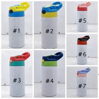 12oz Straight Sippy Cup Blank Sublimation Tumbler Children Water Bottle 350ml Stainless Steel Drinking tumbler For Kids Sea Shipping LJD9940