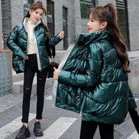 Женская блестящая зимняя куртка Parka Хлеб зимние пальто вниз в совокупющую воротник для воротника
