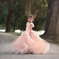 Pink Puffy Flower Girl Dresses for Wedding Layered Tulle Lace appliques Kids Pageant Party Birthday Gown for girls 2021