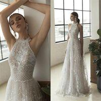 2021 Julie Vino Beach Wedding Dresses Halter Neck Lace Appliques Boho Bridal Gowns Plus Size A Line Wedding Dress