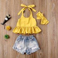 Toddler Clothing Sets Kids Baby Girls Yellow Ruffle Haler Bandage Tops Hole Denim Shorts Heaband 3pcs Outfits Set