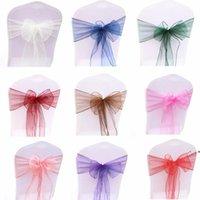 25pcs Organza Silla arco de sash para la cobertura de la fiesta de bodas banquete Baby Shower Decoración de Navidad Decoración de Navidad SHEER ORGANGAS Suministro de telas BWB6141