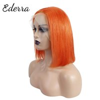 Lace Wigs 13x4 Straight Bob Wig Hair Blunt Cut For Women Side Part Short Brazilian With Highlight Orange