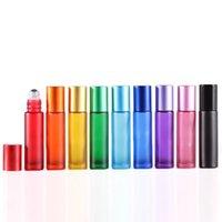 10ML الملونة الزجاج الزجاجي الزجاجي الزجاجي متجمد زجاجات العطور مع لفة على جرة حاويات مستحضرات التجميل للسفر