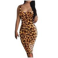Casual Dresses Sexy Sleeveless Bodycon Party Dress For Women 2021 Fashion Leopard Printed Tank Basic Midi Club Cami Vestidos Robe
