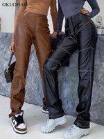 السراويل النسائية capris okuohao إمرأة فو الجلود عالية الخصر مستقيم الإناث صديقها فضفاض واسعة الساق السراويل الأسود الأزياء سقوط 2021 جلطة