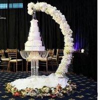 Romantic Luxury Metal Arch Drape Suspend Chandelier Acrylic Cake stand Swing Rack For Cake Topper Decor Centerpiece Wedding Birthday Party Decor