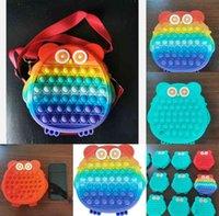 Kids Boys Girls cartoon silicone purses sensory owl shape fidget toy push bubble board game crossbody shoulder bags wallet coin bag christmas anti anxiety G96WE2I