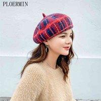 Ploermin lã vintage morno inverno mulheres manta beret francês artista beanie chapéu chapéu para presente doce Primavera e outono bonés 210429