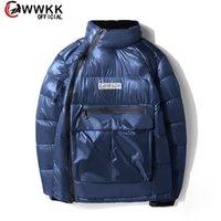 WWKK 2021 겨울 아래로 파카 남자 광택 두건이있는 자켓 큰 크기 따뜻한 두꺼운 느슨한 코트 여성 자켓