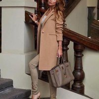 Women's Wool & Blends Novalya Casual Turn Down Collar Coats Women Fashion Solid Single Button Jackets Elegant Long Female Ladies