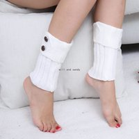 Button Knit Anklet Leg Warmers Reverse Collar Short Boot Cuffs Toppers Leggings Women Girls Autumn Winter Loose Stockings Socks White Black Will and Sandy