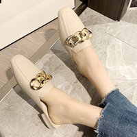 Women's Slippers Outdoor Flat Muller Female Fashion Sandals 2021 New Fashion Open Toe Slippers Fashion Women Chain Leather Shoes GBND4E3