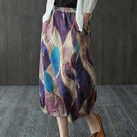 Skirts FairyNatural 2021 Summer Ladies Beach Loose Elastic Waist Printed Women Ramie Pocket Vintage Linen Skirt