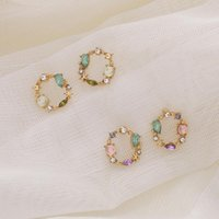 Stud 1 Pair Charming Alloy Metal Studs Earrings Exquisite Geometric Rhinestone Wreath Piercing Ear Female Accessories