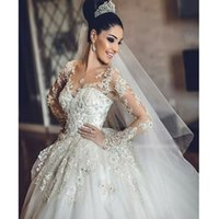 2021 New Dubai Elegant Long Sleeves Ball Gown Wedding Dresses Sheer Crew Neck Lace Appliques Beaded Vestios De Novia Bridal Gowns