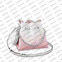 M57855 M57856 Sevimli Bella Kova Çanta Kadın Tuval Mahina Hakiki Buzağı Deri Degrade Renk Delikli Mektup Çiçek Çanta Çanta Omuz Çantası Çapraz Gövde