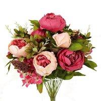 الزهور الزخرفية أكاليل 1 باقة 13 رؤساء الفاوانيا الاصطناعية زهرة الديكور المنزل اكسسوارات الحرير العروس الزفاف وهمية