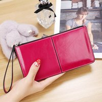 Wallets Fashion Korean Women Clutch Bag With Wristband Leather Solid Color Lady Girl Long Wallet Card Holder Zipped Coin Purse IE998