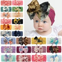 24 Colors Baby Headband Gold Velvet Girl Boy Tie Dye Big Bow Indian Turban Kids Bowknot Head Wrap Soft Boutique Cotton Infant Toddler Hairband Accessory