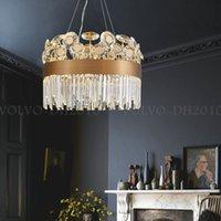 LuxuryGray Gold K9 Crystal Chandelier for Dining Living Room Villa Apartment Rectangle Round Hanging Light Fixtures Modern Pendant Lamp Lighting