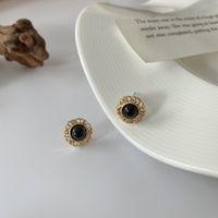 귀걸이 S925 Sier 바늘 개인화 된 작은 둥근 검은 수지 기질 간단한 E014