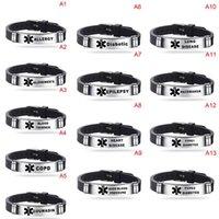 Aço inoxidável ajustável Alerta de silicone ID Pulseira Diabético epilepsia pulseira pulseira para homens pulseira