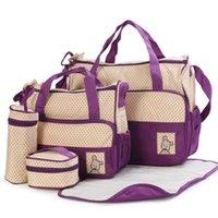 39 * 28.5 * 17 cm 5pcs Bag per bambini Borsa da pannolini Abiti per mamma Babys Bambini Bottiglia per bambini Madre Mummy Passeggino Maternità Bags Bags Set 2358 Q2
