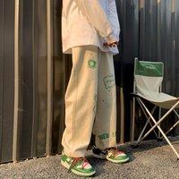 Men's Jeans Flat-footed breeches release baggy male-style cute-looking ruffian vibe original Japanese streetwear pants 7E1U