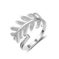 Cluster Rings Charm Fashion Leaf Shape Clear Micro Cubic Zircon Crystal Wedding Engagement Open Adjustable For Woman Jewellery