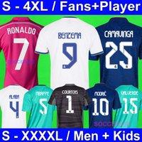 S - 4XL Real Madrid 21 22 Benzema Hazard Camavavy Fussball Jersey Alaba Modric Kroos Bale Isco Player Version Vinicius JR Carvajal Courtois Asensio Nacho Kids Kit XXXXL