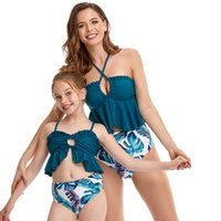 High Elactic Parent Child Bikini Swimwear Hollow Out Design Halter Bathing Suit Fashion Bow Lace-up Beachwear