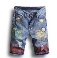 Männer Designer Ripped Jeans Abzeichen Aufkleber Blau Denim Shorts Herren Sommer Stretchy Slim Fit Distressed Casual Retro Große Größe WASSE MOTO LOCH BIKER HOSE 1808