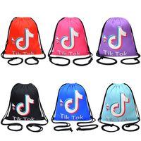 Tiktok İpli Çanta Sırt Çantası Cep 5 Renkler Halat Omuzlar Alışveriş Sırt Çantaları Eğitim Erkekler ve Kızlar için Eğitim Spor Çantaları