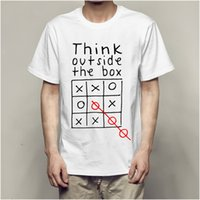 Men's T-shirts Fashion Think Out Side Cool the Box Short Sleeve T-shirt