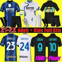 Hommes + Kids Kit 2021 Inter Barella Soccer Jerseys 21 22 Lukaku Milan Vidal Lautaro Eriksen Alexis Hakimi de Vrij Dzeko Quatrième joueur de chemise de football + fans S-4XL